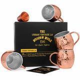 Urban Vintage LA Set of 4 Moscow Mule Copper Mugs with Stainless Steel Lining