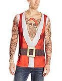 Faux Real Men's Santa Suit with Tattoos Top