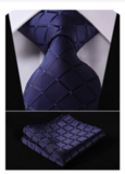 HISDERN Men's Necktie & Pocket Square Set