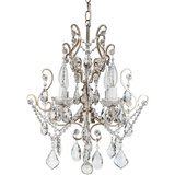 Amalfi Decor Crystal Beaded Chandelier with Wrought Iron (4 LED Lights)