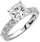 Houston Diamond District 14K Gold or Platinum GIA Certified Princess Cut with Side Stones 4 Carat T.W Diamond Engagement Ring