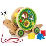 Hape Walk-Along-Snail Wooden Push and Pull Toy