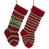 Kurt Adler Heavy Yarn Stocking, Set of 2