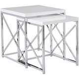 Monarch Specialties Glossy White Nesting End Table