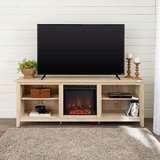WE Furniture Media TV Stand Console with Fireplace